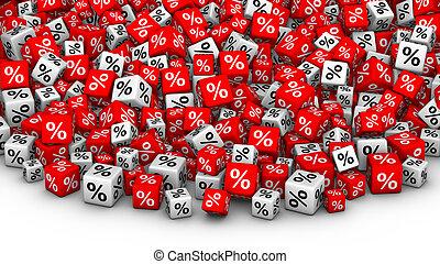 A heap of cubes percent symbol.