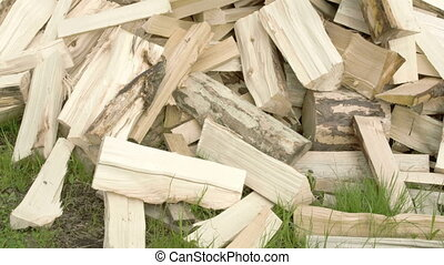 A heap of newly axed firewoods