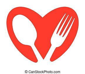 A heart and food concept