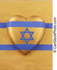heart - A heart as a israel flag on golden cloth