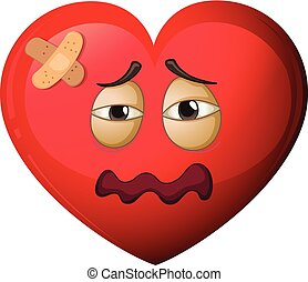 A heart character in pain