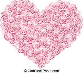 a heart - Vector illustration of a heart of pink roses