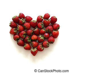 A heart from strawberry on the white background.