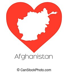 Heart illustration with the shape of Afghanistan