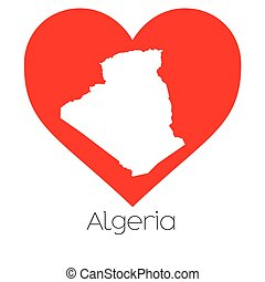 Heart illustration with the shape of Algeria