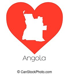 Heart illustration with the shape of Angola