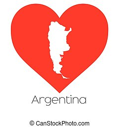 Heart illustration with the shape of Argentina