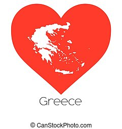 Heart illustration with the shape of Greece