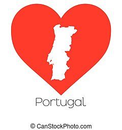 Heart illustration with the shape of Portugal