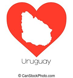 Heart illustration with the shape of Uruguay