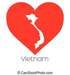 Heart illustration with the shape of Vietnam