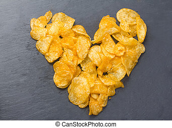 a heart made of chips