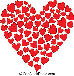 A Heart Made of Hearts - A group of smaller cartoon, hearts ...