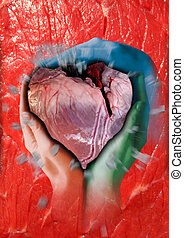 heart - A heart of flesh with a heavy wound is held by three...