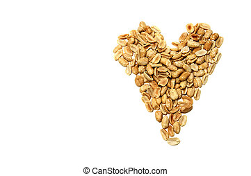 a heart of peanuts on a white background