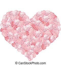 a heart of pink roses - Vector illustration of a heart of...