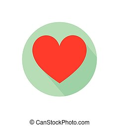 a heart. on a white background in a bright circle