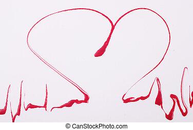 heart rhythm - A heart rhythm made of blood