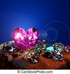 A heart shape diamond on a pile of colorful diamond on brown ground with flare.