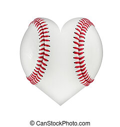 Heart shaped baseball isolated on a white background with clipping path