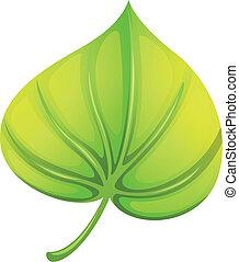 A heart-shaped leaf - Illustration of a heart-shaped leaf on...