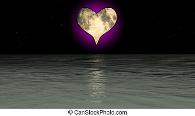 A Heart shaped moon over the sea.