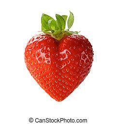 a heart-shaped strawberry - a heart shaped strawberry...