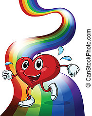 A heart walking above the rainbow - Illustration of a heart...
