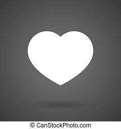 a heart white icon on a dark background
