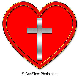 silver cross symbol and heart image