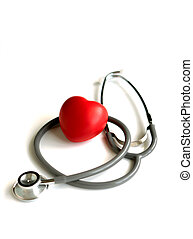 A heart with a stethoscope, isolated on white background