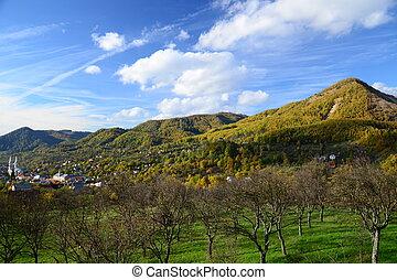 a, hegy, ősz