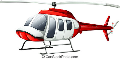 A helicopter flying