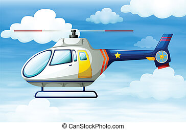 A helicopter in the sky