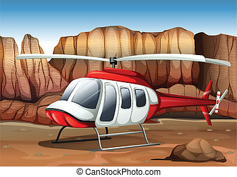 Illustration of a helicopter landing at the ground