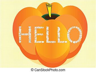A hello greeting on a pumpkin