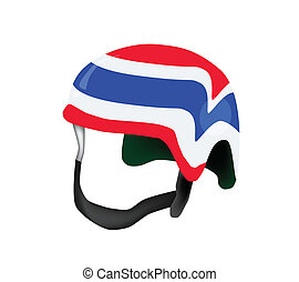 A Helmet of Thai Flag on White Background