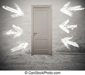 a, helyes, ajtó