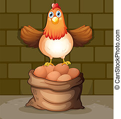 A hen above the eggs