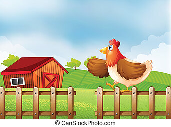 A hen above the fence