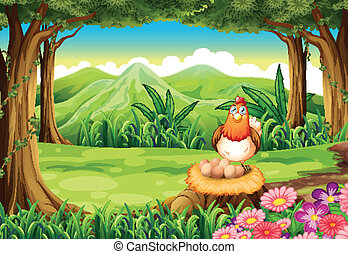A hen above the stump