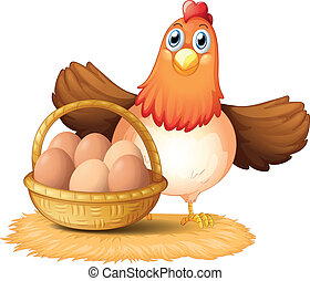 A hen and a basket of egg - Illustration of a hen and a...