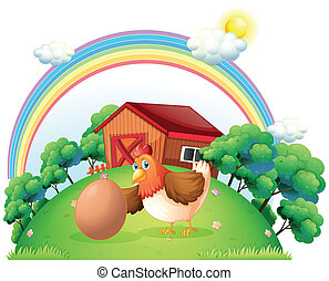 A hen and an egg near the wooden house