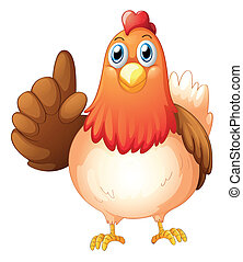 Illustration of a hen on a white background