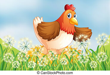 A hen laying eggs - Illustration of a hen laying eggs