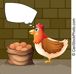 A hen near a sack of eggs thinking