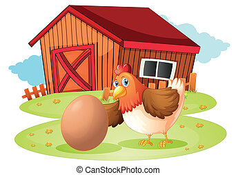 A hen with egg - Illustration of a hen with egg on a white...