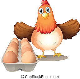 A hen with eggs in the tray - Illustration of a hen with...