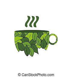 a herbal hot leaf tea for fresh and healthy life logo
