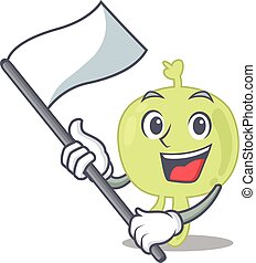 A heroic lymph node mascot character design with white flag...